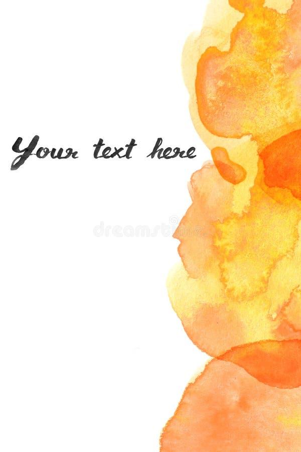 Copy space between Brown orange yellow watercolor background stock illustration