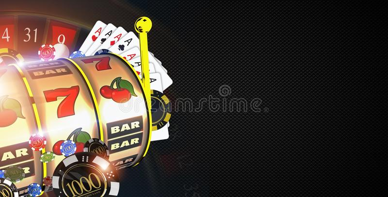 Copy Space Casino Games. Banner Concept with 3D Rendered Illustration Elements. Casino Gambling Black Carbon Like Background stock illustration