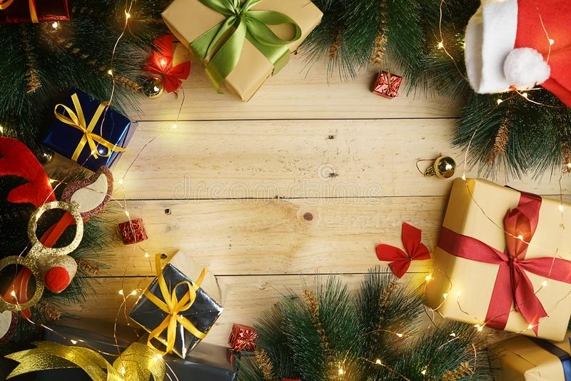 Copy Space Christmas Background. Christmas Ornament on Wood. Top. View stock photo