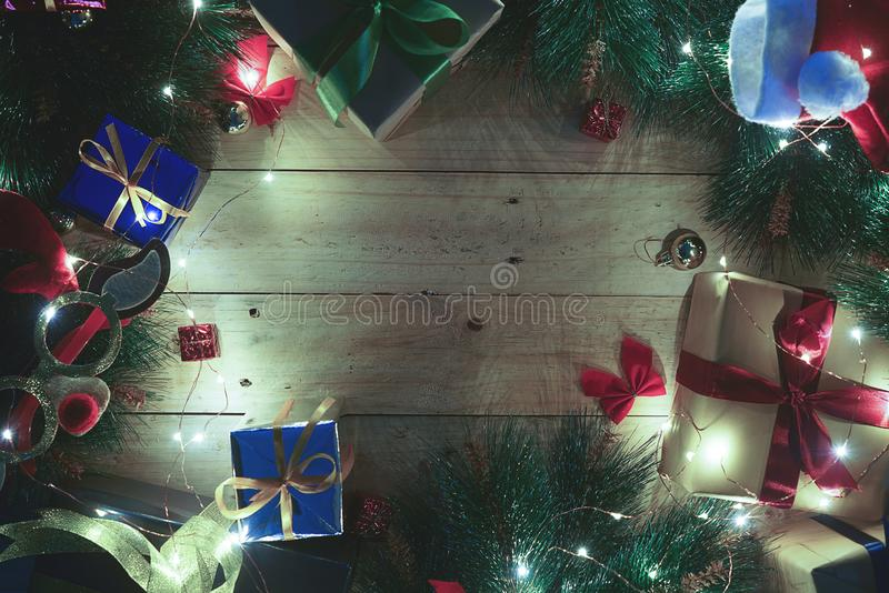 Copy Space Christmas Eve Background. Christmas Ornament on Wood. Top View royalty free stock photography