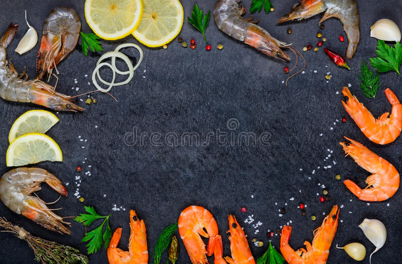 Copy Space Frame with Seafood Shrimps and Ingredients stock photo