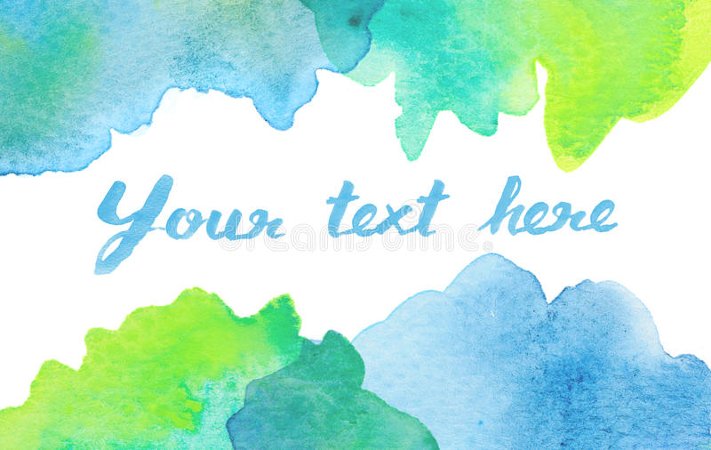 Copy space between green blue watercolor background. Copy space between green blue water color background stock illustration