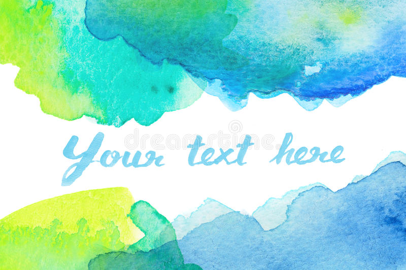 Copy space between green blue watercolor background vector illustration