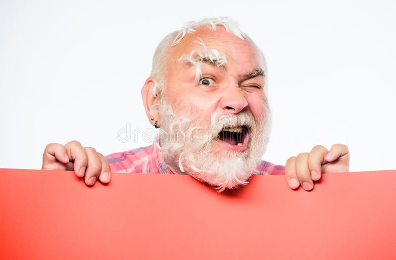 Copy space placate information. Need help. barbershop. Senior bearded man place announcement on banner. shocked mature royalty free stock images