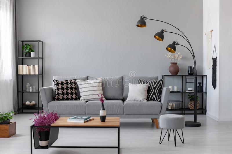 Copy space on the real photo of industrial living room stock images