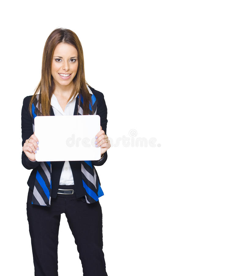 Download Copy Space Sign Woman On White Background Stock Image - Image: 19897923
