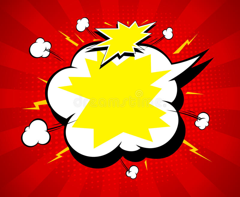 Copy space speech bubble, electric and explosive, bright background with rays vector illustration