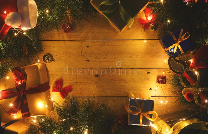 Copy Space Warm Christmas Eve Background. Christmas Ornament on. Wood stock photo
