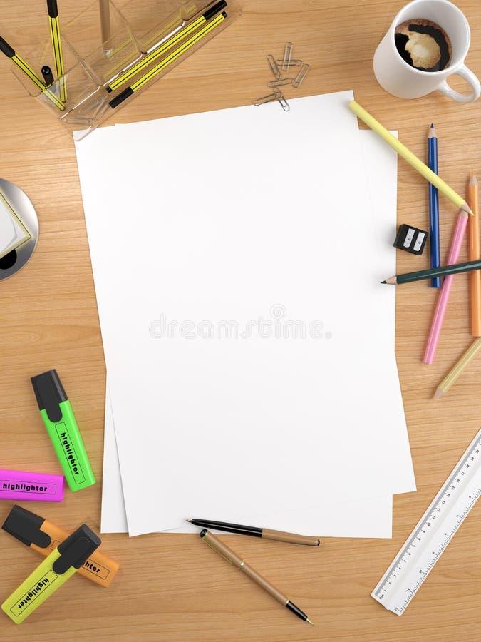 Copy space on white sheet stock illustration