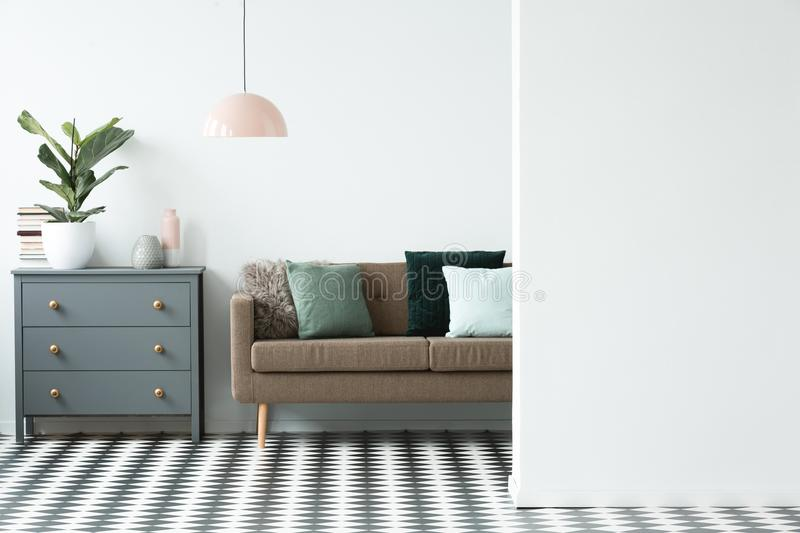 Copy space in living room stock images