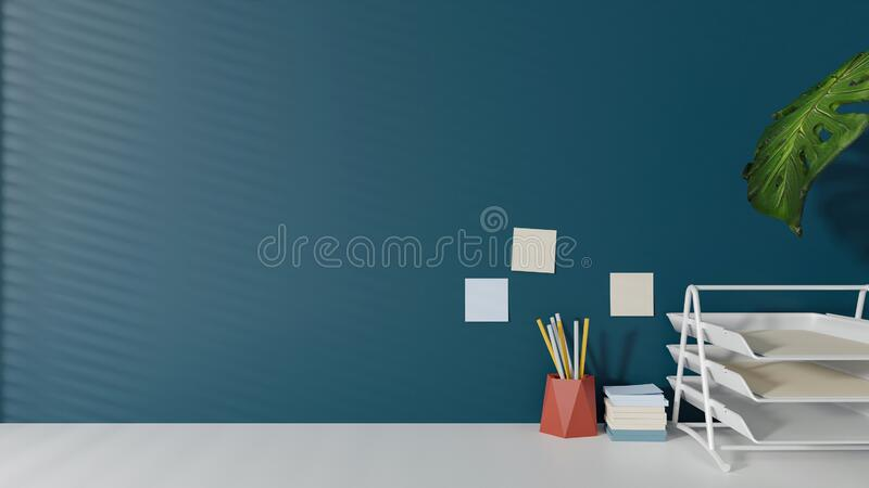 Copy space of working desktop on dark wall royalty free stock photo