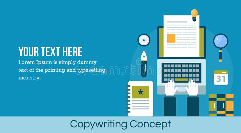 Copy writing concept - flat design vector web banner. Concept of copy writing. Writer using laptop to create content for digital publication. Generating content royalty free illustration