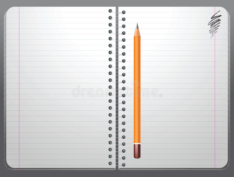 Copybook. Open copybook and pencil - illustration royalty free illustration