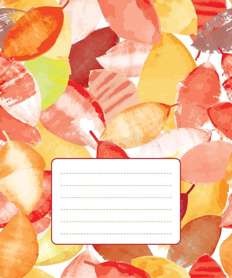 Copybook pokrywy projekt z kolorowymi jesień liśćmi royalty ilustracja