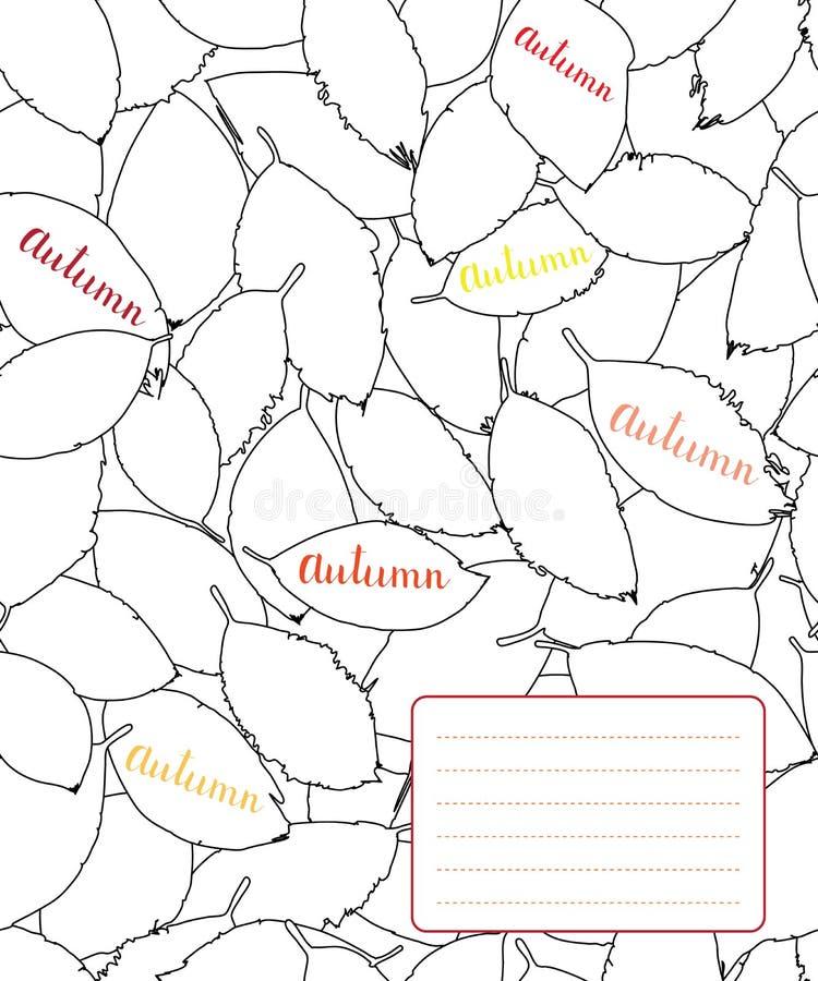 Copybook pokrywy projekt z konturem jesień liście ilustracji