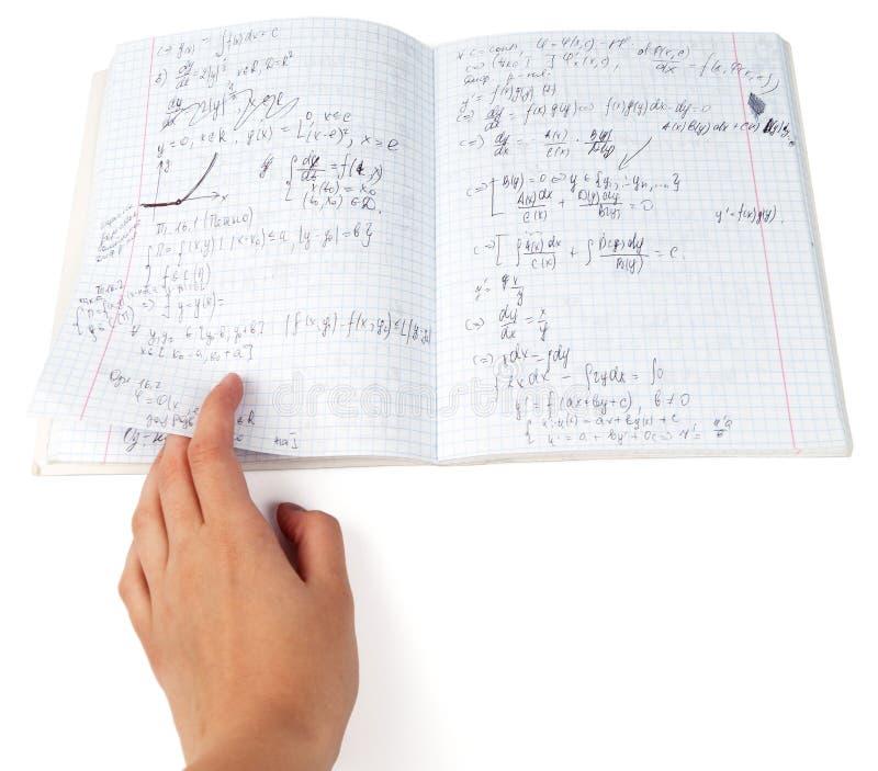 Copybook von Physik lizenzfreie stockbilder