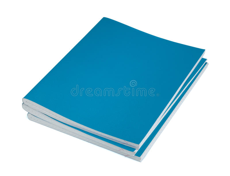 Copybooks. Three blue copybooks on a white background stock image