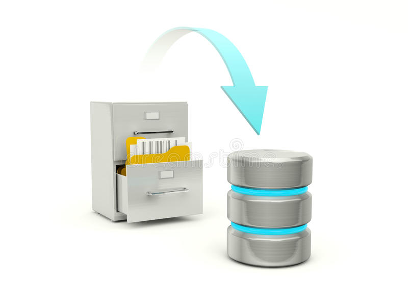 Copying files from archive to data base stock illustration