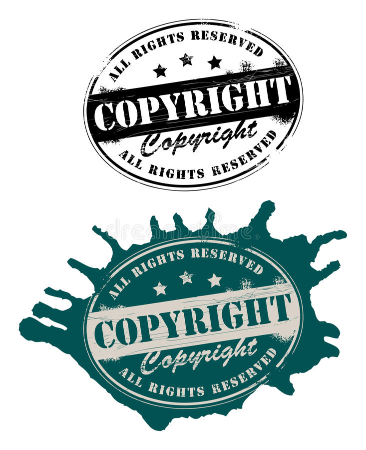Copyright. Grunge rubber stamps with the text copyright all rights reserved written inside the stamp stock illustration