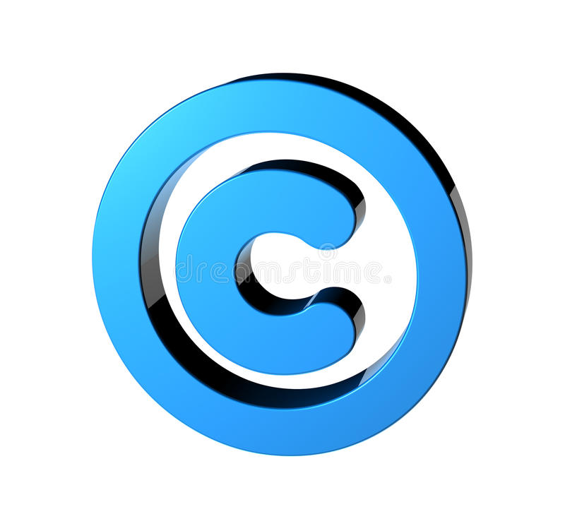 Copyright. 3D render of the copyright symbol stock illustration
