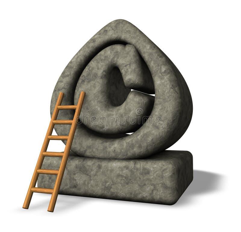 Copyright. Stone copyright symbol and ladder on white background - 3d illustration stock illustration