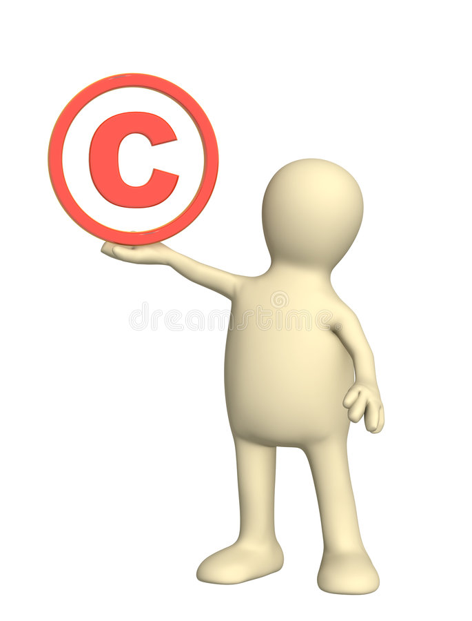 Copyright. 3d puppet with copyright symbol royalty free illustration