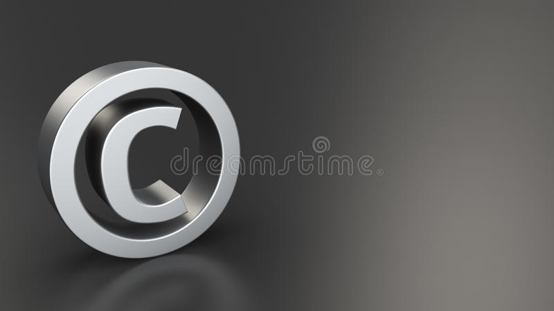 Copyright on black. Metal copyright sign on black background with copyspace royalty free illustration