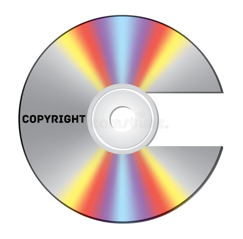 Copyright CD. CD cut out as copyright sign with note royalty free illustration