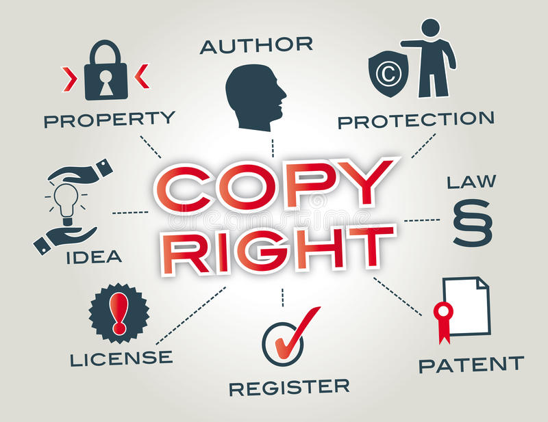 Copyright concept. Chart with keywords and icons royalty free illustration