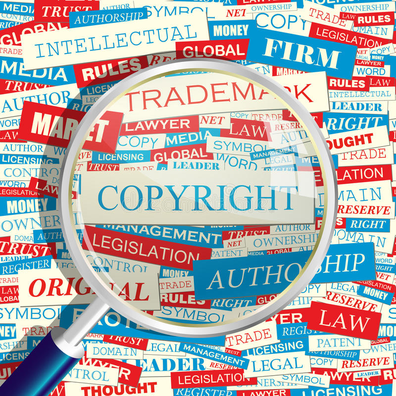 COPYRIGHT. Concept related words in tag cloud. Conceptual info-text graphic. Word collage vector illustration