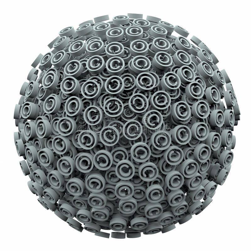 Copyright 3d Symbol Sphere Ball Intellectual Legal Protection. Copyright symbols in a 3d ball or sphere symbolizing protection from infringement or violation of vector illustration