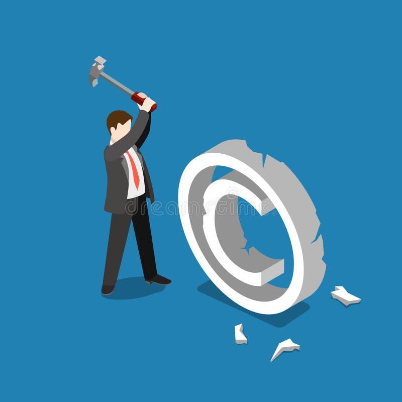 Copyright-de dalings van de bedrijfs overtredingsschending vector vlakke 3d vector illustratie
