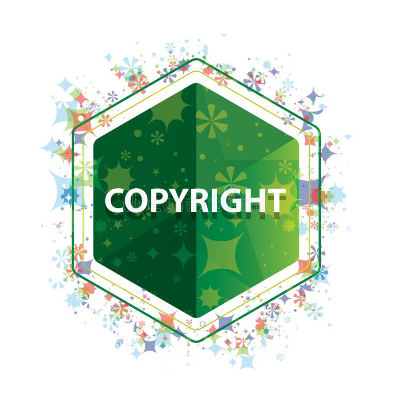 Copyright floral plants pattern green hexagon button stock images