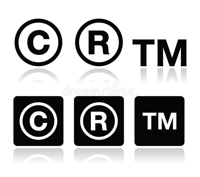 Copyright, geplaatste handelsmerk vectorpictogrammen stock illustratie