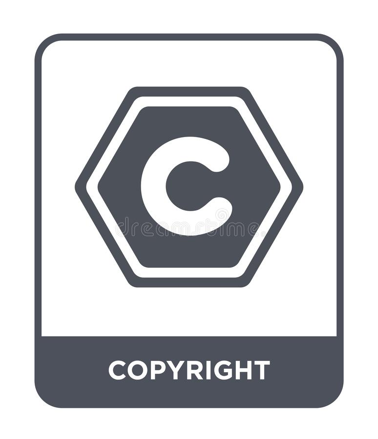 Copyright icon in trendy design style. copyright icon isolated on white background. copyright vector icon simple and modern flat. Symbol for web site, mobile stock illustration