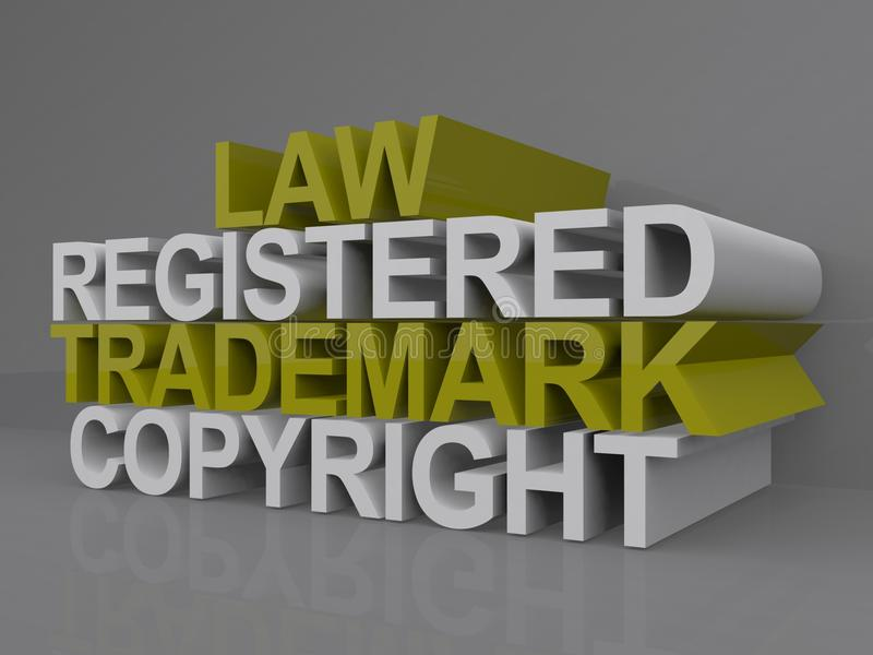 Copyright illustration. A copyright illustration with the words law, registered, trademark and copyright royalty free illustration