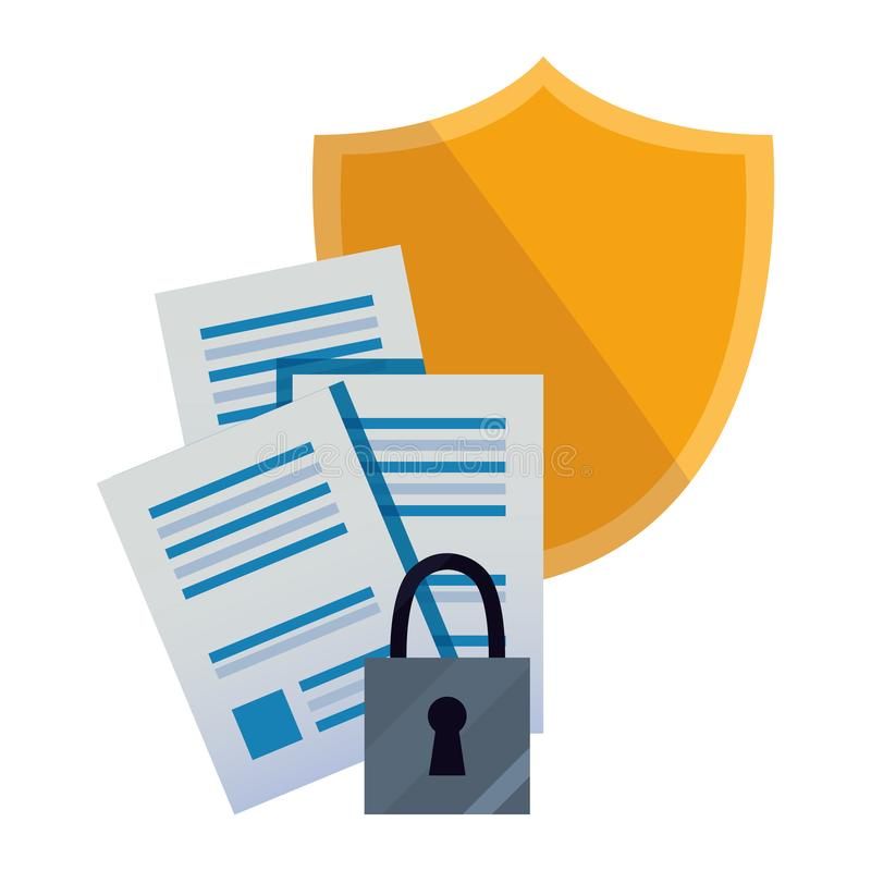 Copyright of intellectual. Patent security shield protection digital copyright of intellectual vector illustration royalty free illustration