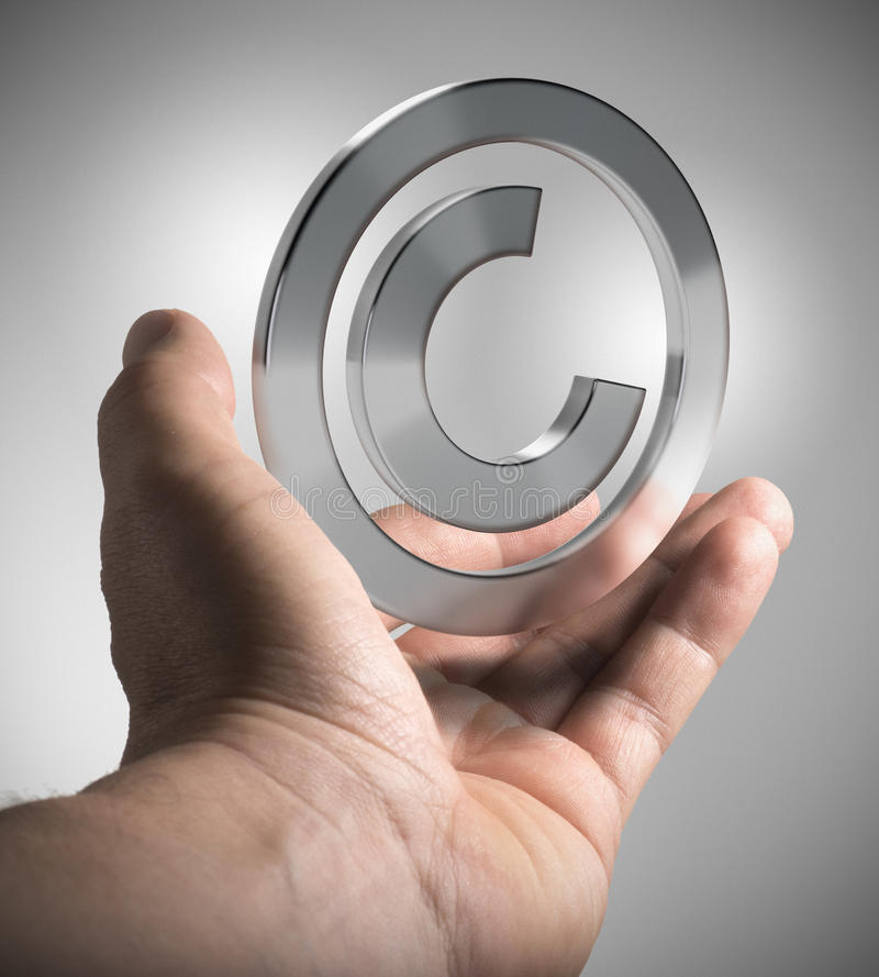 Copyright, Intellectual Property. Man hand holding copyright symbol over grey background, concept image for illustration of intellectual property stock illustration