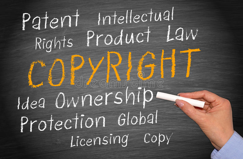 Copyright intellectural egenskapsord arkivfoto