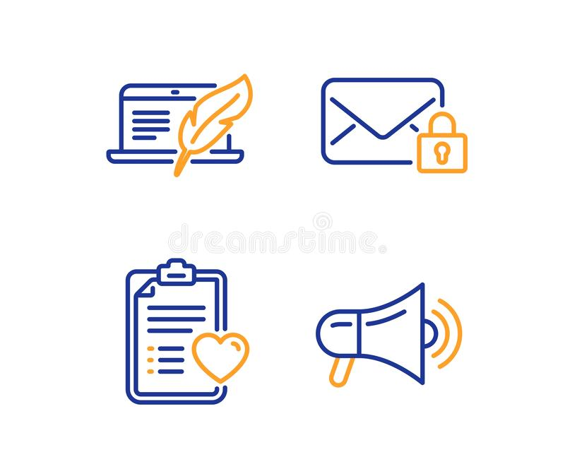 Copyright laptop, Patient history and Secure mail icons set. Megaphone sign. Vector. Copyright laptop, Patient history and Secure mail icons simple set royalty free illustration