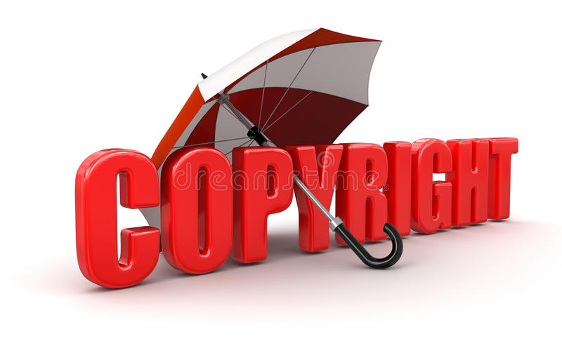 Copyright onder Paraplu (het knippen inbegrepen weg) royalty-vrije illustratie