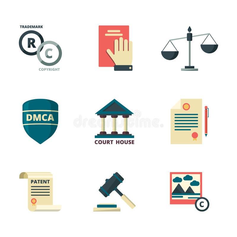 Copyright-pictogrammen Van het de kwaliteitsbeleid van de bedrijf wettelijke wet van het beleidsverordeningen vlak gekleurd de na stock illustratie