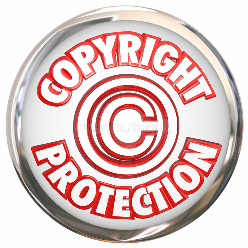 Copyright Protection 3d Words Symbol Icon Intellectual Property. Copyright Protection 3d symbol and words on a round white icon illustrating your intellectual vector illustration