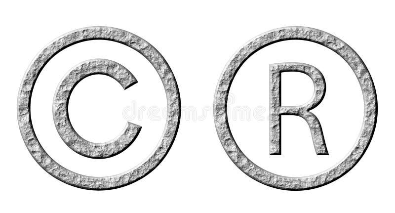 copyright registreringssymboler för sten 3d vektor illustrationer