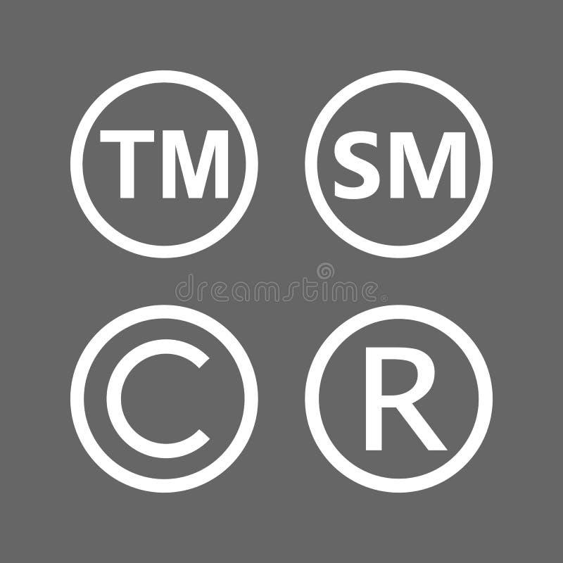Copyright, rejestrowy znak firmowy, smartmark ikony ustawiać Wektorowy illustartion, płaski projekt ilustracji
