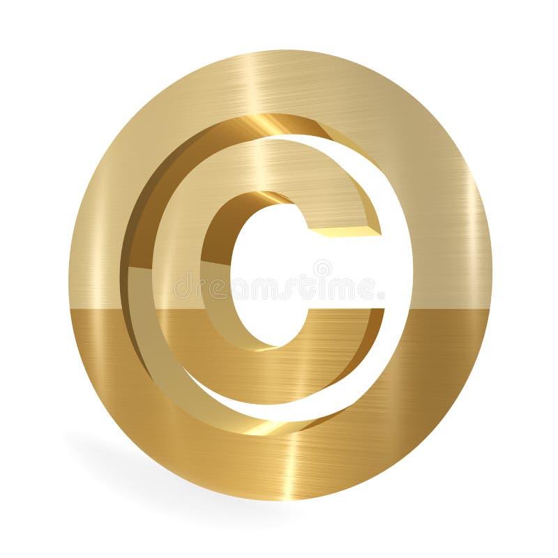 Copyright sign. Gold copyright sign 3d render stock illustration