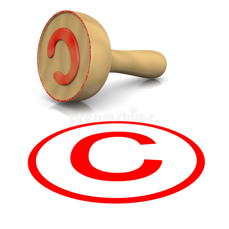 Copyright Stamp. Copyright Red Ink Text Wooden Stamp on White Background 3D Illustration stock illustration