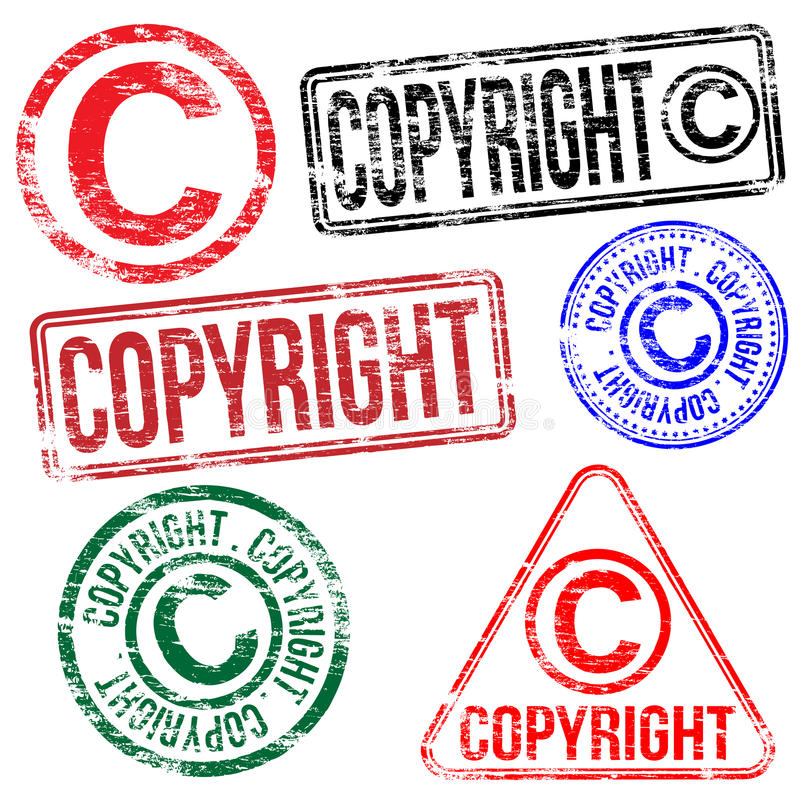 Copyright Stamps. Rectangular and round copyright rubber stamp s stock illustration