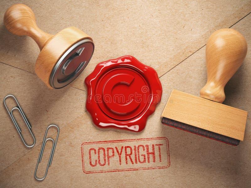 Copyright-Stempel und Dichtungswachs stamrp auf dem Handwerk pepe lizenzfreie abbildung