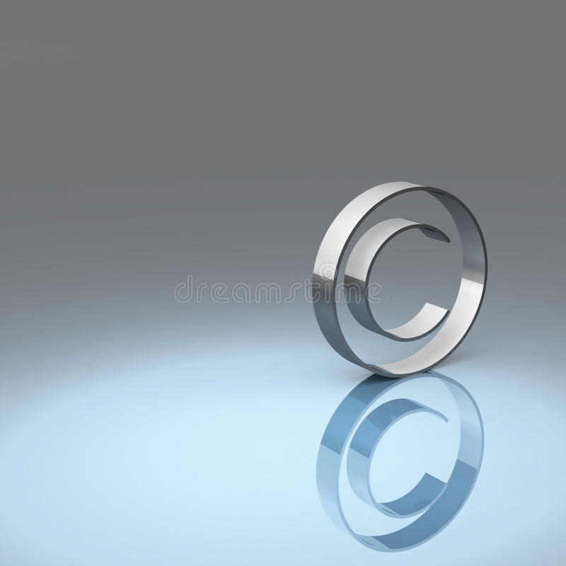 Copyright symbol. Rendering of a metallic copyright symbol with blue and grey background vector illustration